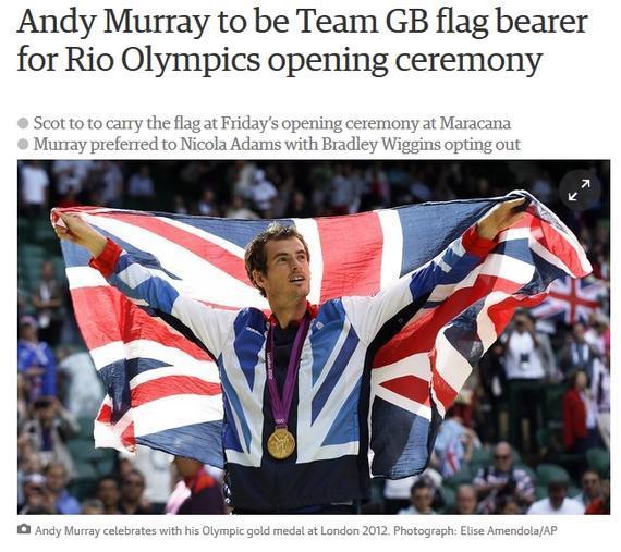 穆雷将担任里约奥运会英国代表团旗手