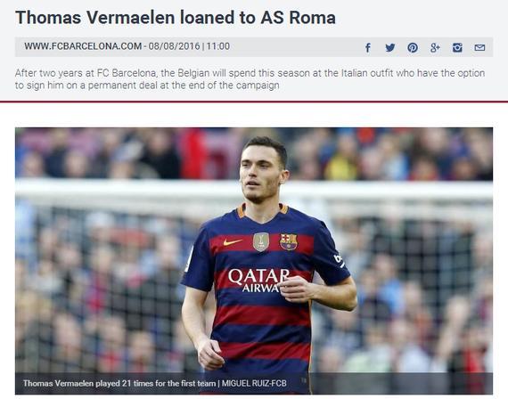 巴萨宣布维尔马伦租借离队