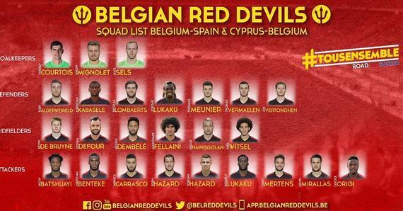 比利时国家队名单:阿扎尔兄弟出战 英超15将入选