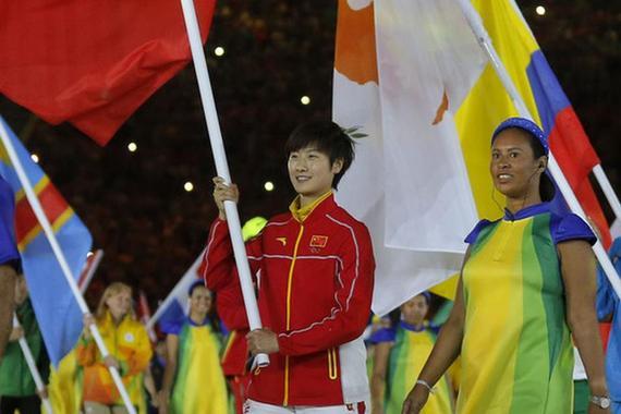 打发负责奥运会国家代表团旗头