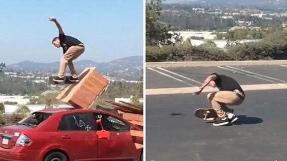 英笑剧艺人车顶滑板失慎跌伤