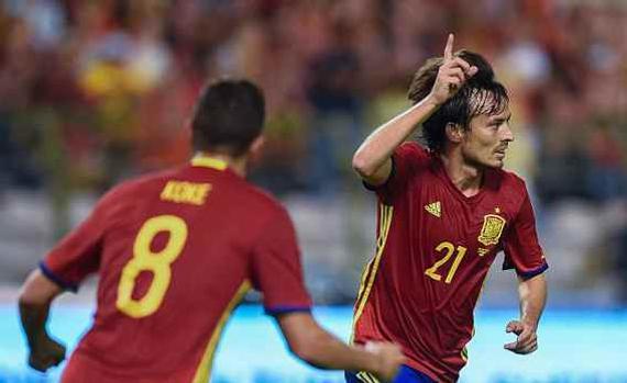 席尔瓦2球,西班牙2-0比利时