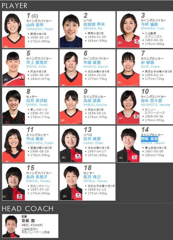 日本女排亚洲杯参赛14人名单