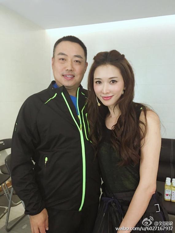 林志玲和刘国梁合影