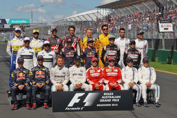 2016赛季F1车手合影