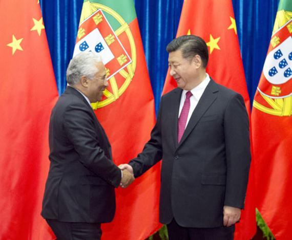 国家主席习近平在人民大会堂会见葡萄牙总理科斯塔