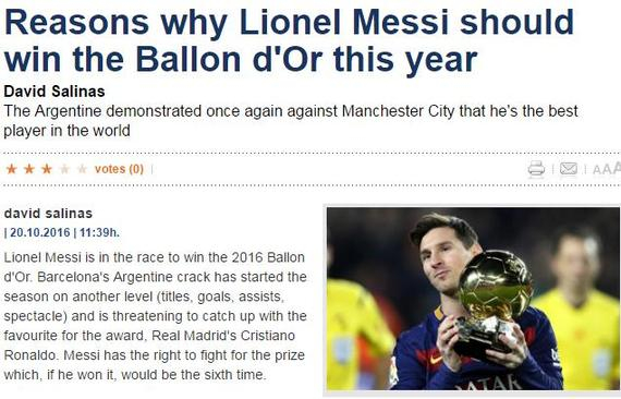 《每日体育报》力挺梅西赢得金球奖