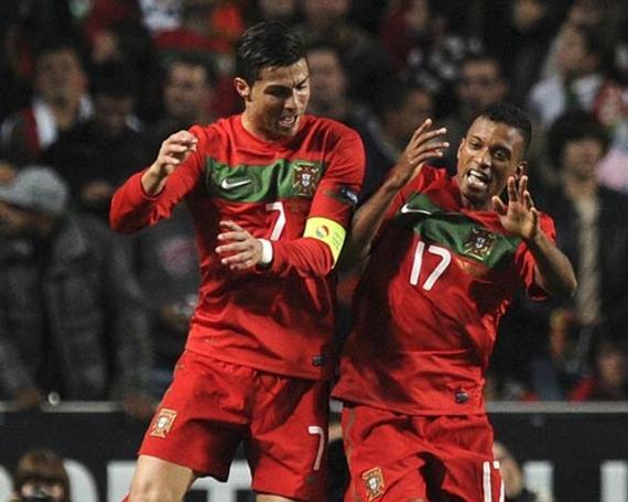 葡萄牙国家队的C罗与纳尼