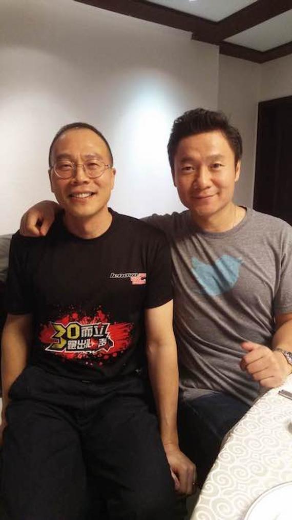 魏江雷(右)和跑友Louie