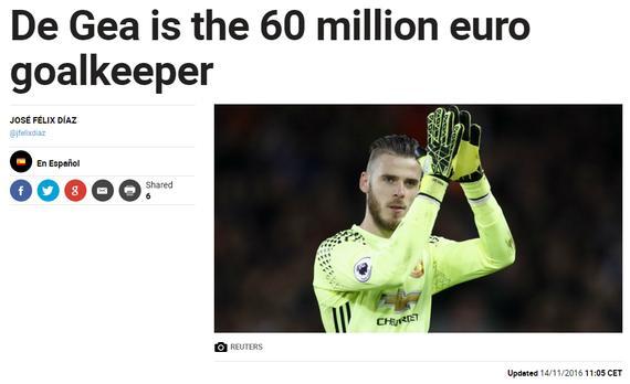 《马卡报》:德赫亚的违约金为6000万欧元