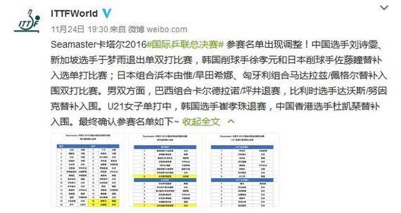 刘诗雯退出国际乒联总决赛