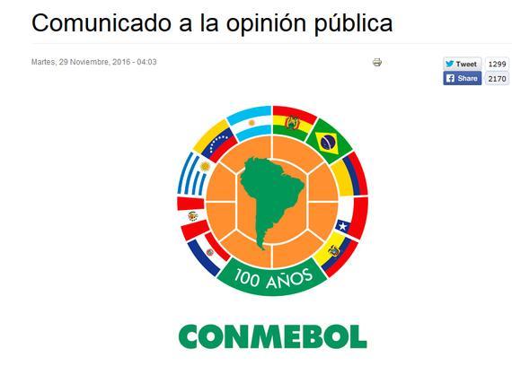 南美洲足联发表声明