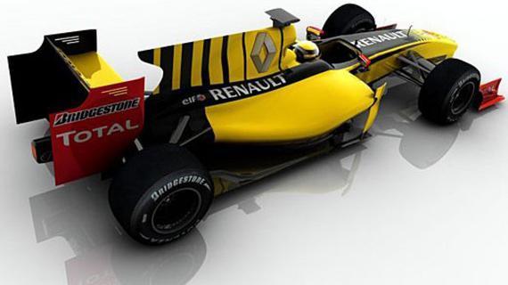 宏大的背鳍是2010款F1赛车的标配,图为2010款雷诺F1赛车。