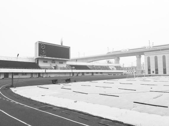 图为火车头的体育场,不远处动车飞驰而过