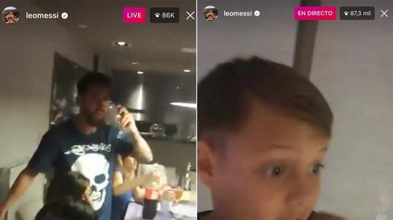 梅西侄子用梅西手机搞直播