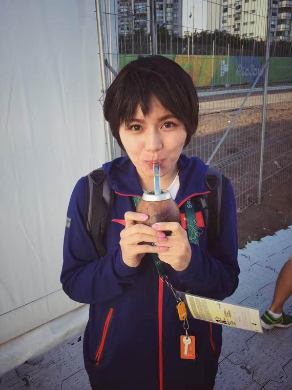 李昕在里约高尔夫球场旁第一次品尝到了马黛茶