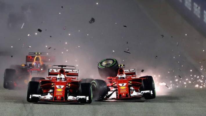 F1新加坡站 维特尔与莱科宁相撞