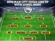 假想曼城签下梅西后首发阵容 这11人能拿欧冠吗
