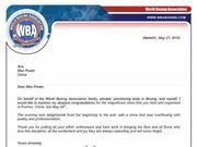 WBA主席致拳威四海贺信:你们奉献了难忘的比赛