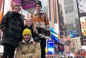 贝克汉姆带儿女游纽约吃牛排