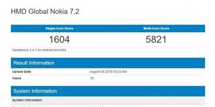 全新诺基亚7.2现身跑分网站:6GB运存+安卓9系统