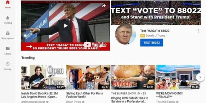 特朗普竞选团队购买选举日当天YouTube头条广告位