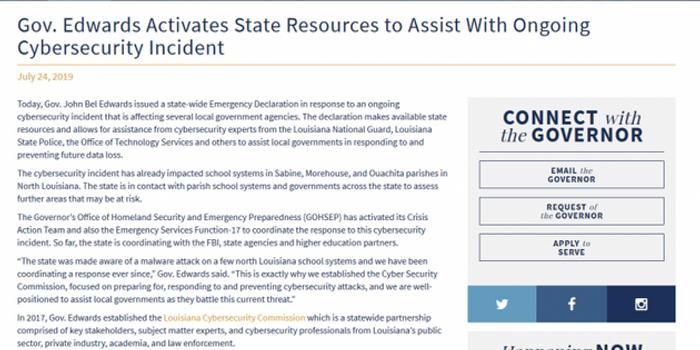 美国路易斯安那多学区遭网络攻击 宣布进入紧急状态