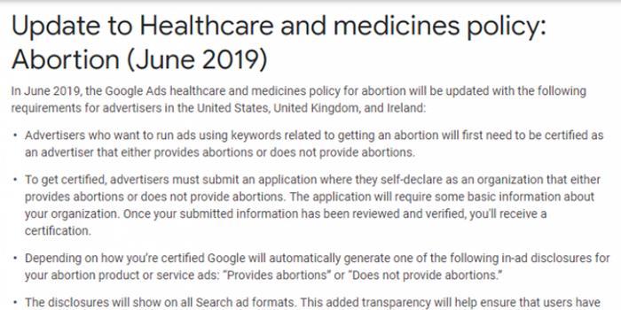 谷歌正试图消除反堕胎诊所误导性广告