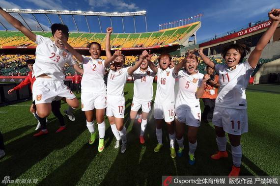 中国女足兴奋庆祝进军世界杯8强