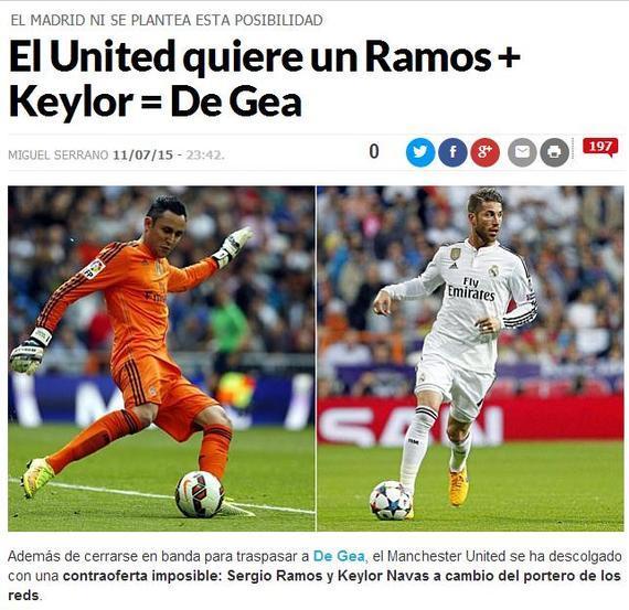 《马卡报》:曼联提出纳瓦斯+拉莫斯来交换德赫亚