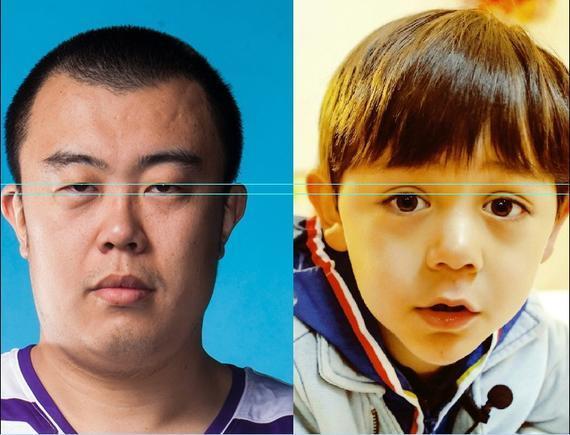 韩德君的眼睛竟然跟刘诺一小朋友的双眼皮一样大!
