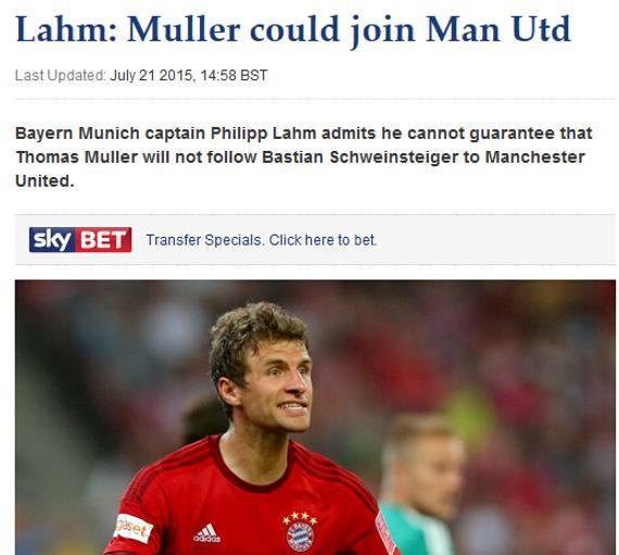 拉姆供认穆勒能够去曼联