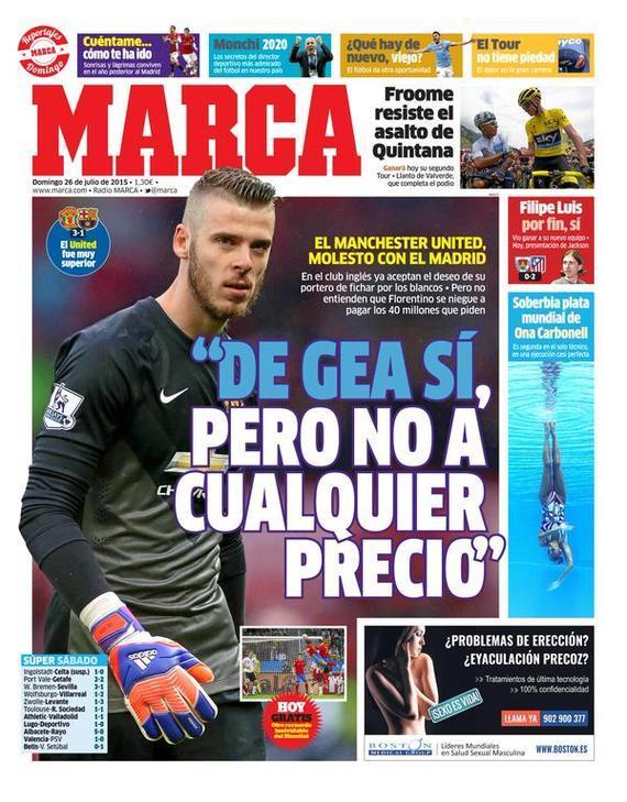 《马卡报》最新封面:曼联同意出售德赫亚
