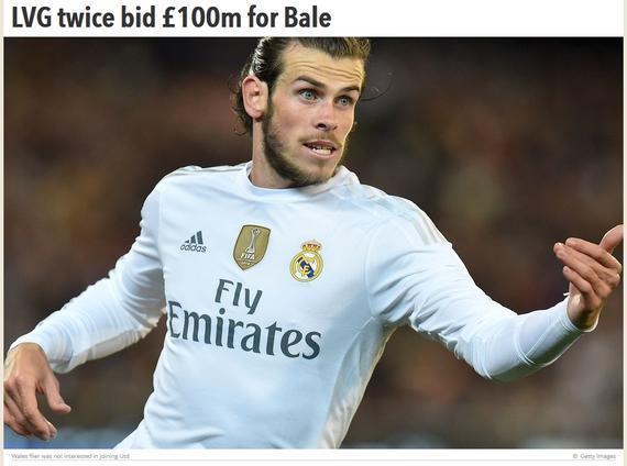 曝曼联1亿英镑两度开价贝尔被拒