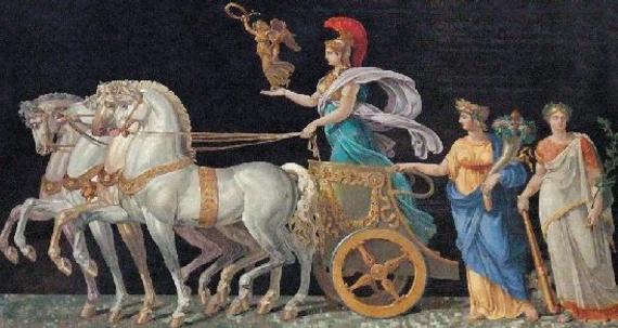 卢浮宫里描绘希腊神话传说中雅典娜驾着金马车的油画