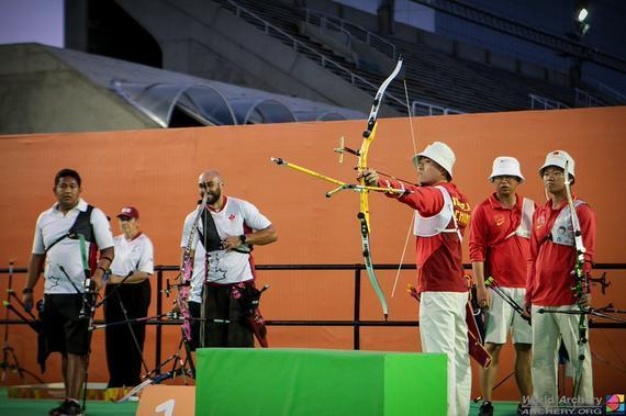 中国男团参加反曲弓奥运测试赛