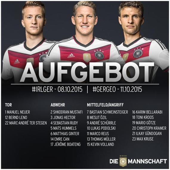 德国队大名单:小猪厄齐尔领衔
