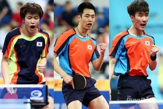 韩乒奥运男选手郑荣植、朱世赫、李尚洙(左至右)