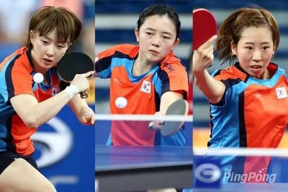 韩乒奥运女选手徐孝媛、田志希、梁夏银(左至右)