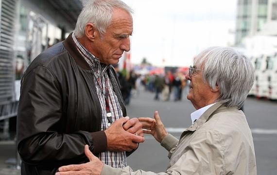 红牛集团老板迪特里希-马特基茨与F1老板伯尼-埃克莱斯顿