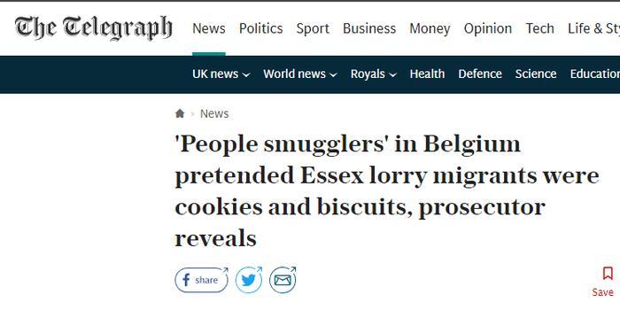 """英国死亡货车案:""""人贩子""""曾谎称货车内是饼干"""