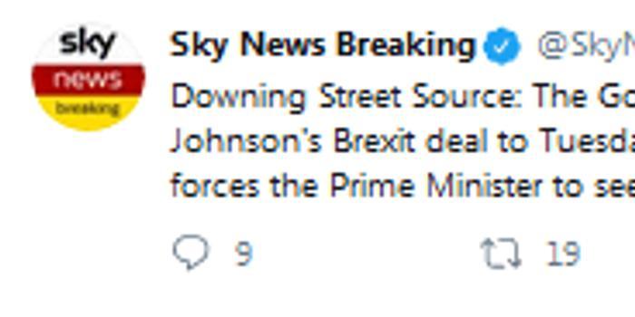 消息人士:约翰逊新脱欧协议投票可能推迟至22日