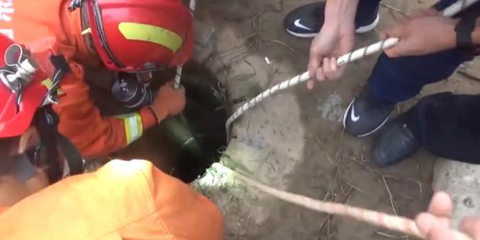 山东德州一女子坠入机井 消防员用绳索救出