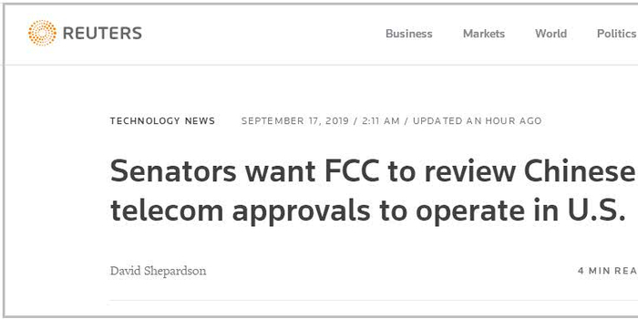 美议员要求FCC重新评估中国电信、联通在美运营牌照