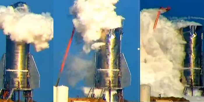 马斯克的星舰进行压力测试 顶罩被崩飞