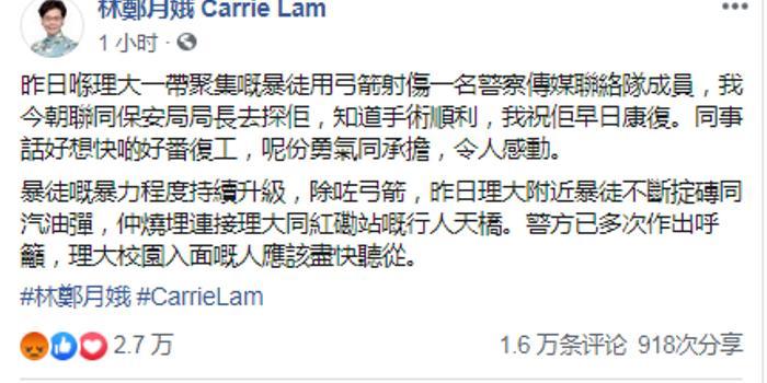 看望中箭警员后林郑月娥发声:勇气和担当令人感动