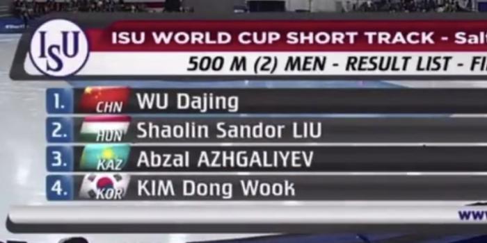 短道世界杯500米 武大靖夺中国队首金