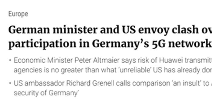 德部长说公道话惹怒美大使:拿中国和美比是种侮辱