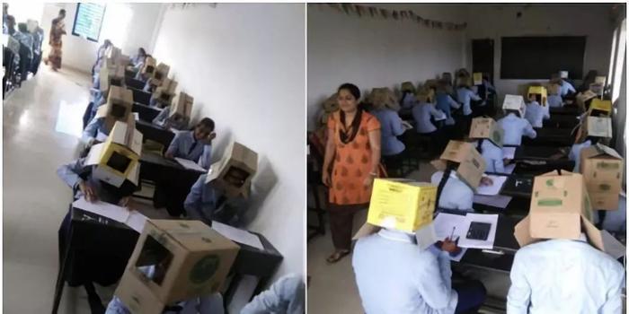 印度学生头戴纸箱防作弊?学校道歉称没强迫(图)