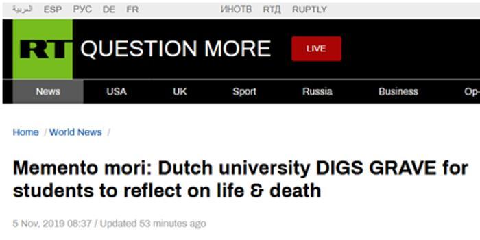 """荷兰一大学开设""""坟墓""""体验项目 爆受学生欢迎"""